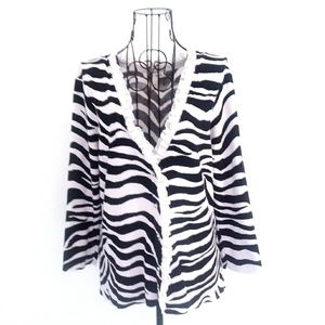 White House Black Market Zebra 3/4 Sleeve Cardigan